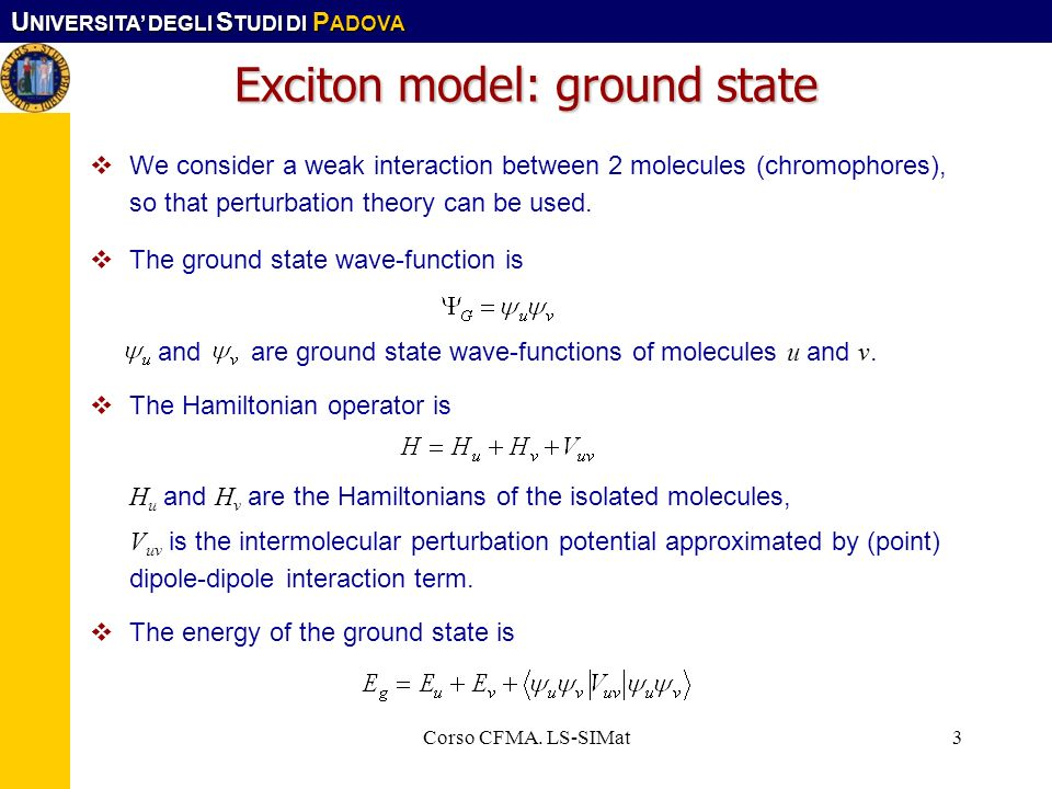 Exciton model: ground state