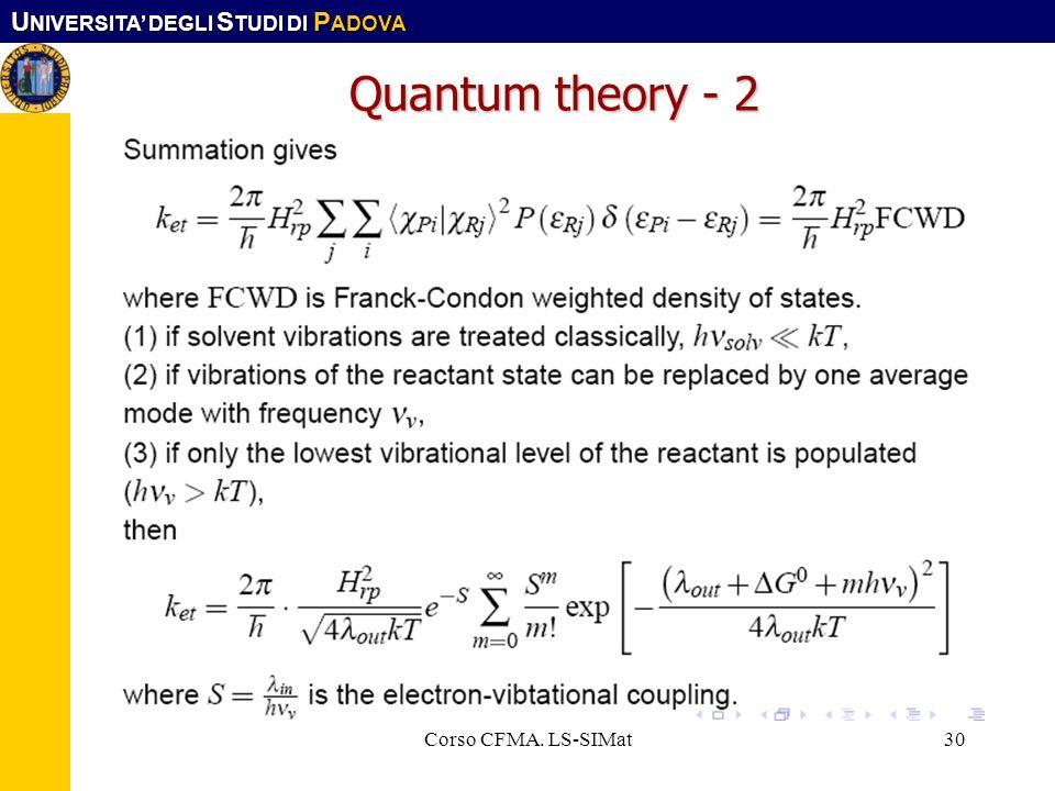 Quantum theory - 2 Corso CFMA. LS-SIMat Corso CFMA. LS-SIMat