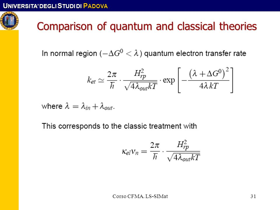 Comparison of quantum and classical theories