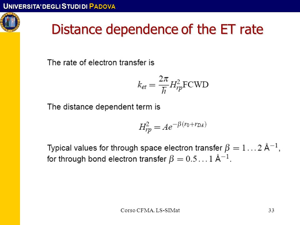 Distance dependence of the ET rate