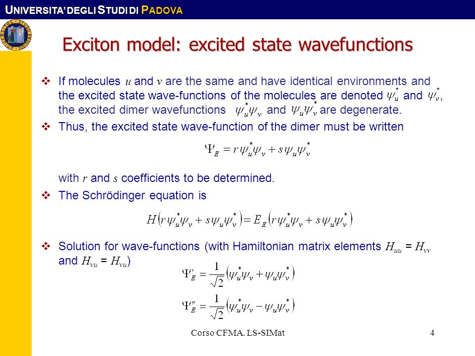 Exciton model: excited state wavefunctions