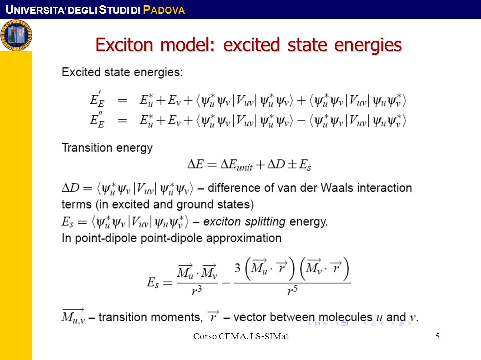 Exciton model: excited state energies