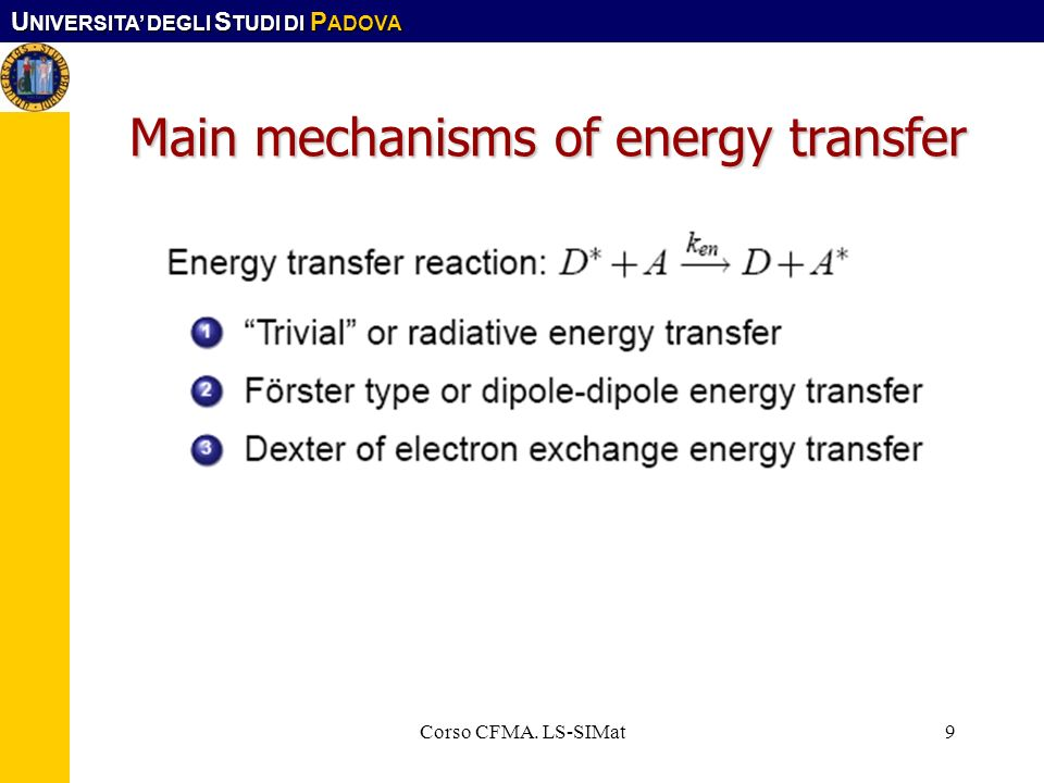 Main mechanisms of energy transfer