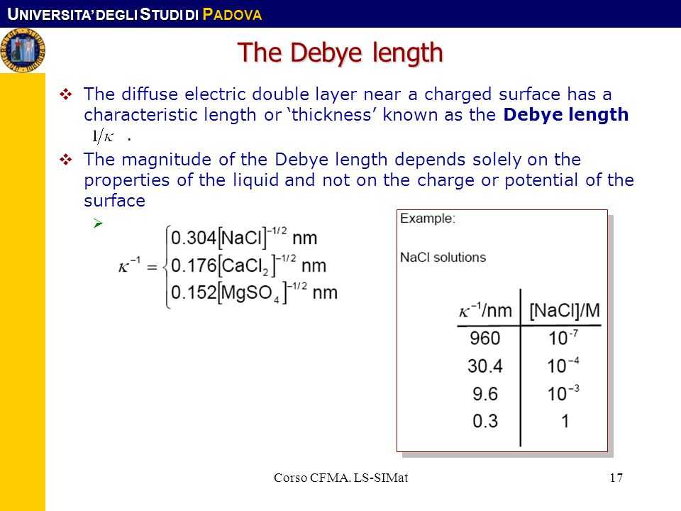 The Debye lengthThe diffuse electric double layer near a charged surface has a characteristic length or 'thickness' known as the Debye length .