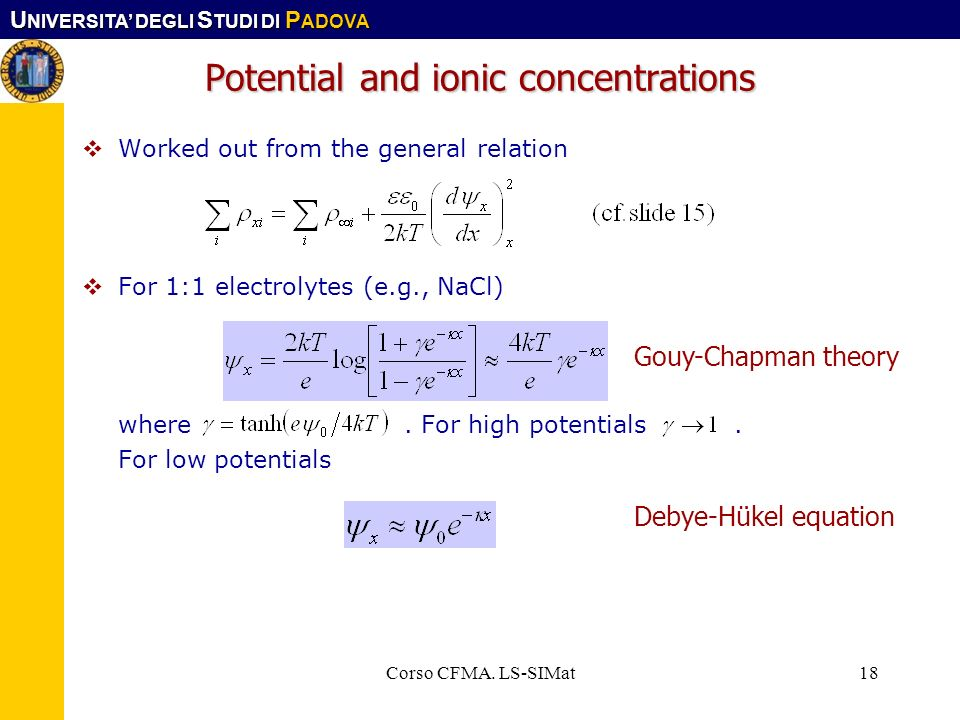 Potential and ionic concentrations