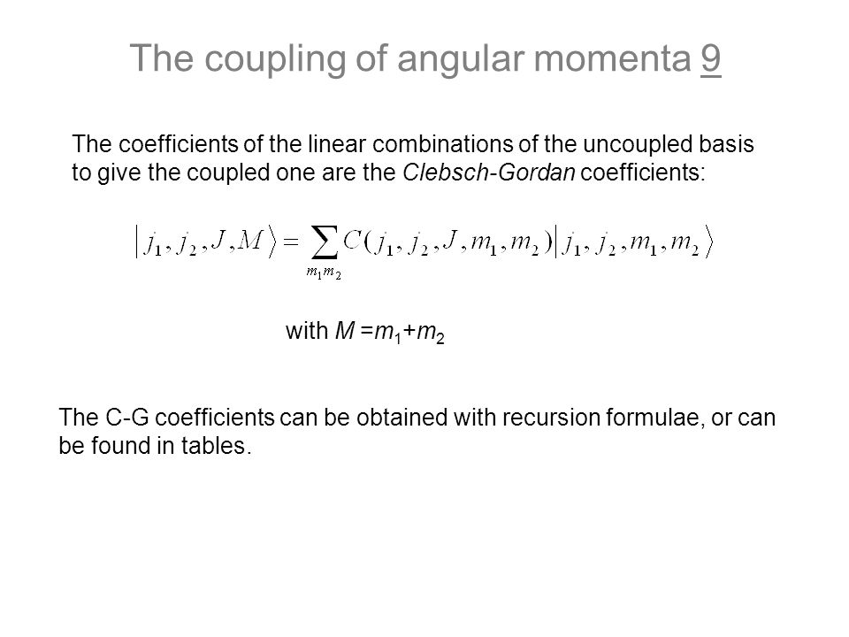 The coupling of angular momenta 9