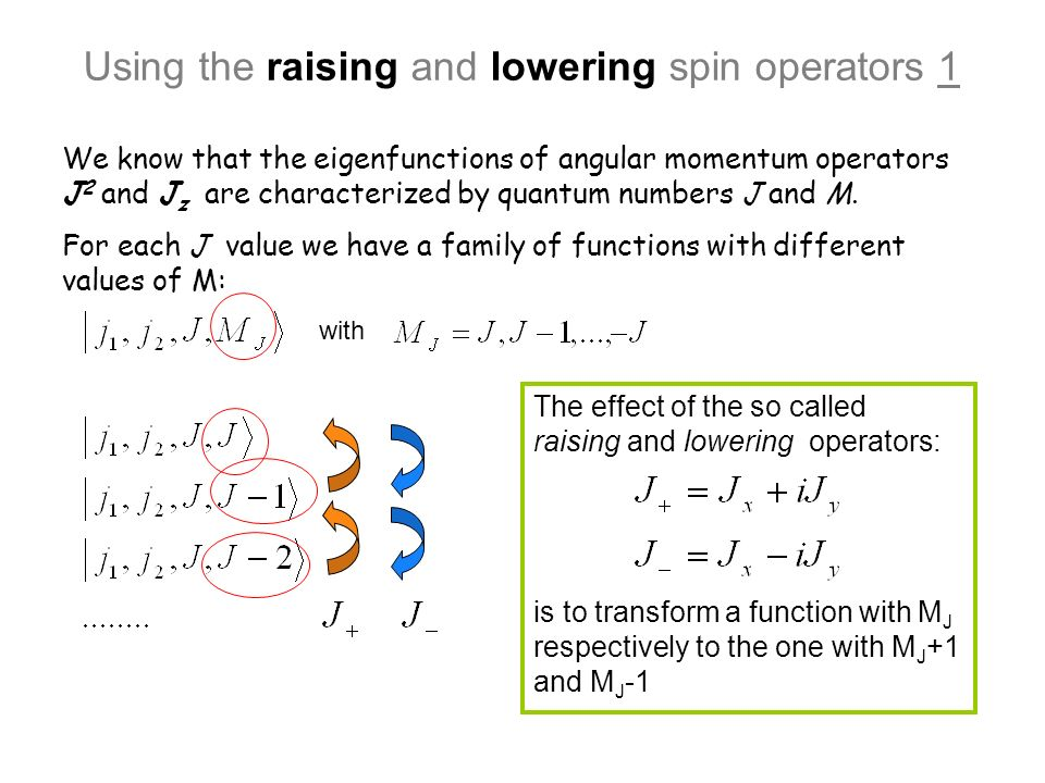 Using the raising and lowering spin operators 1