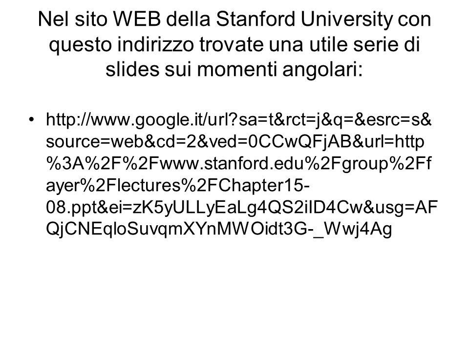 Nel sito WEB della Stanford University con questo indirizzo trovate una utile serie di slides sui momenti angolari: