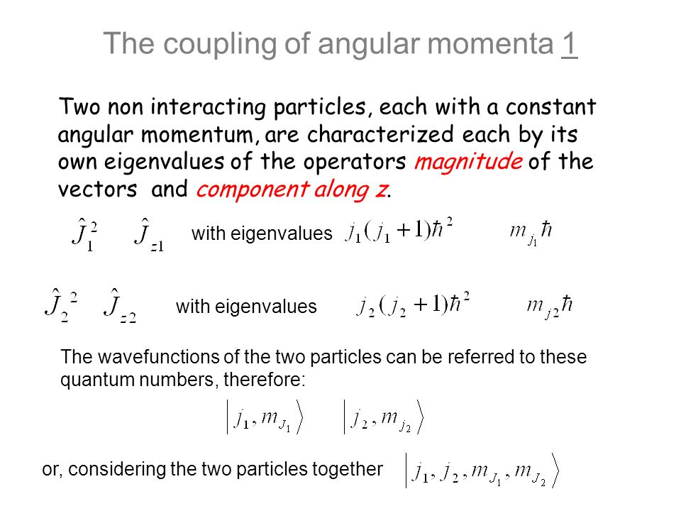 The coupling of angular momenta 1