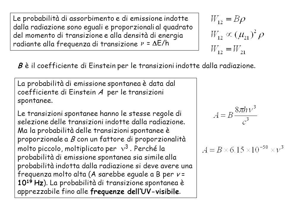 Le probabilità di assorbimento e di emissione indotte dalla radiazione sono eguali e proporzionali al quadrato del momento di transizione e alla densità di energia radiante alla frequenza di transizione