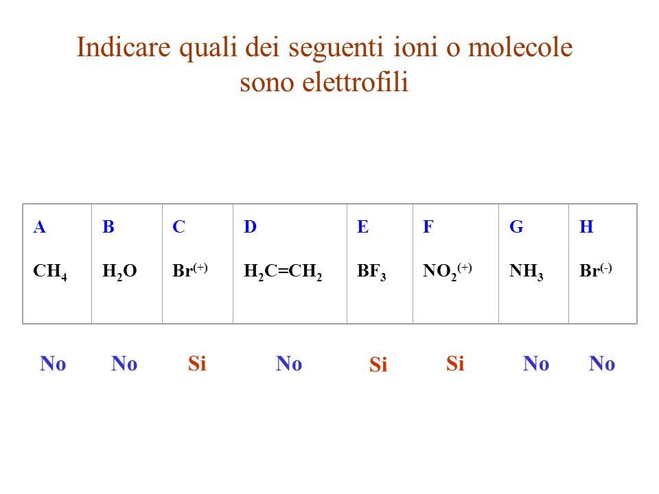 Indicare quali dei seguenti ioni o molecole sono elettrofili