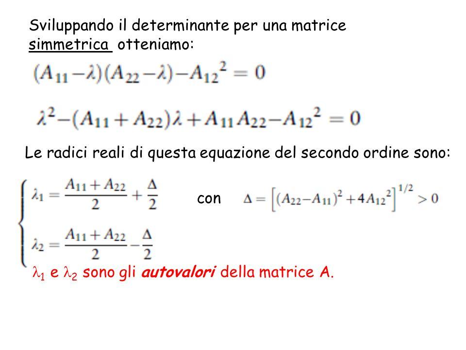 Sviluppando il determinante per una matrice simmetrica otteniamo: