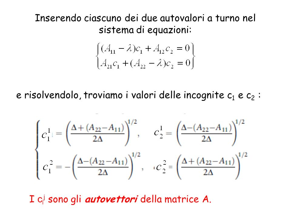 e risolvendolo, troviamo i valori delle incognite c1 e c2 :