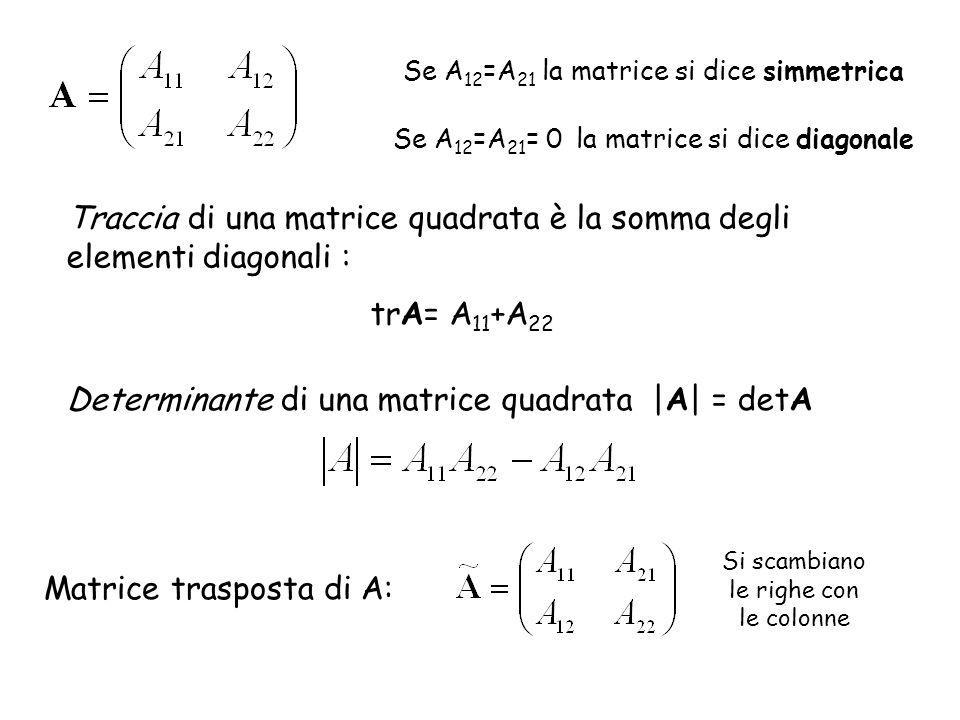 Traccia di una matrice quadrata è la somma degli elementi diagonali :
