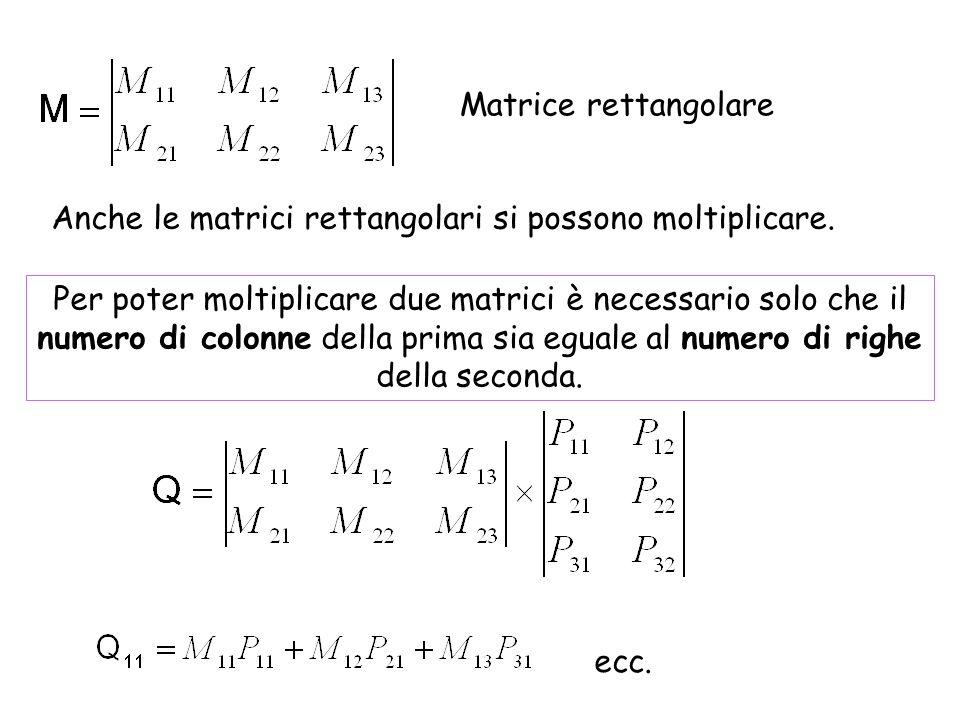 Matrice rettangolare Anche le matrici rettangolari si possono moltiplicare.