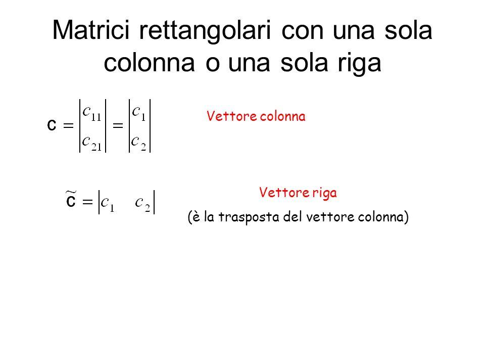Matrici rettangolari con una sola colonna o una sola riga