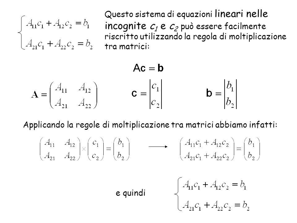 Questo sistema di equazioni lineari nelle incognite c1 e c2 può essere facilmente riscritto utilizzando la regola di moltiplicazione tra matrici: