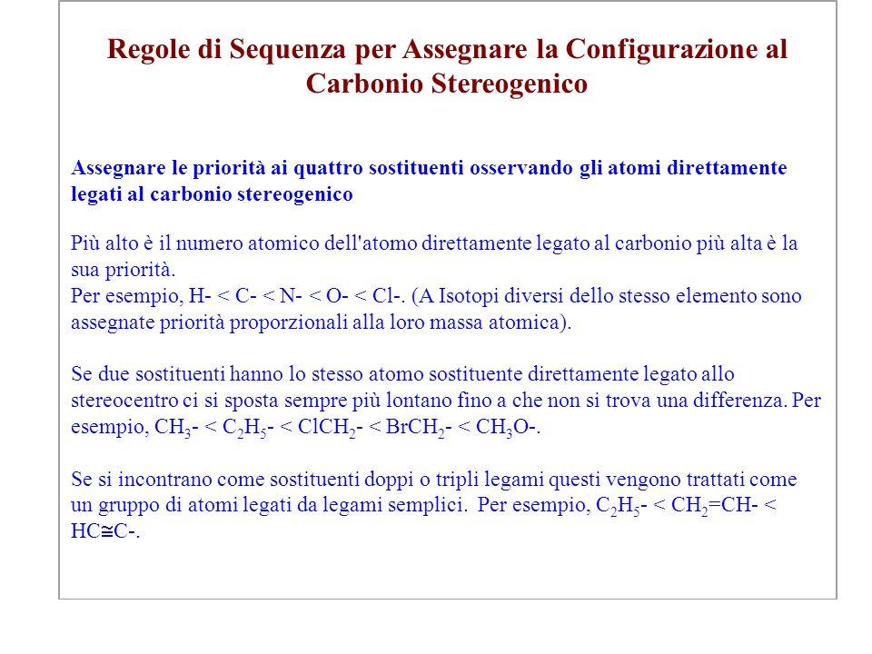 Regole di Sequenza per Assegnare la Configurazione al Carbonio Stereogenico