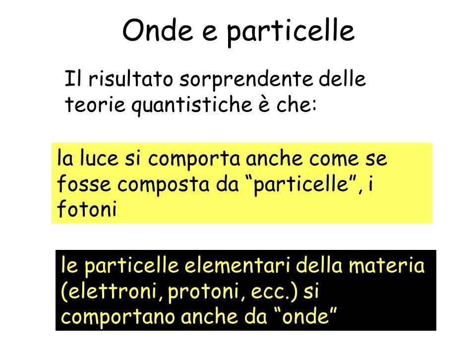 Onde e particelle Il risultato sorprendente delle teorie quantistiche è che: