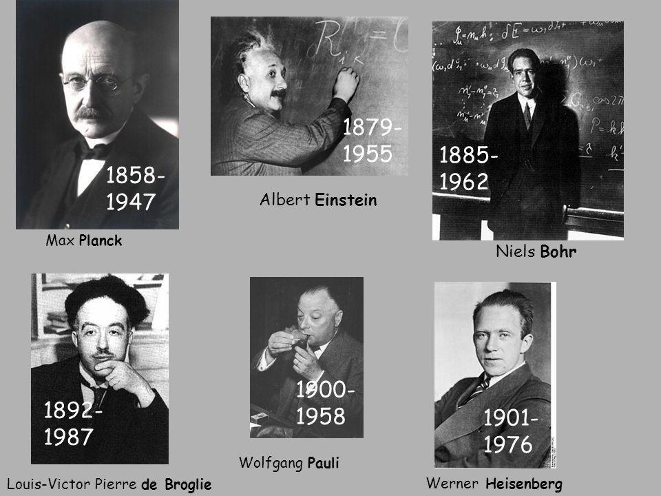 Max Planck 1858-1947. Albert Einstein. 1879-1955. Niels Bohr. 1885-1962. Louis-Victor Pierre de Broglie.