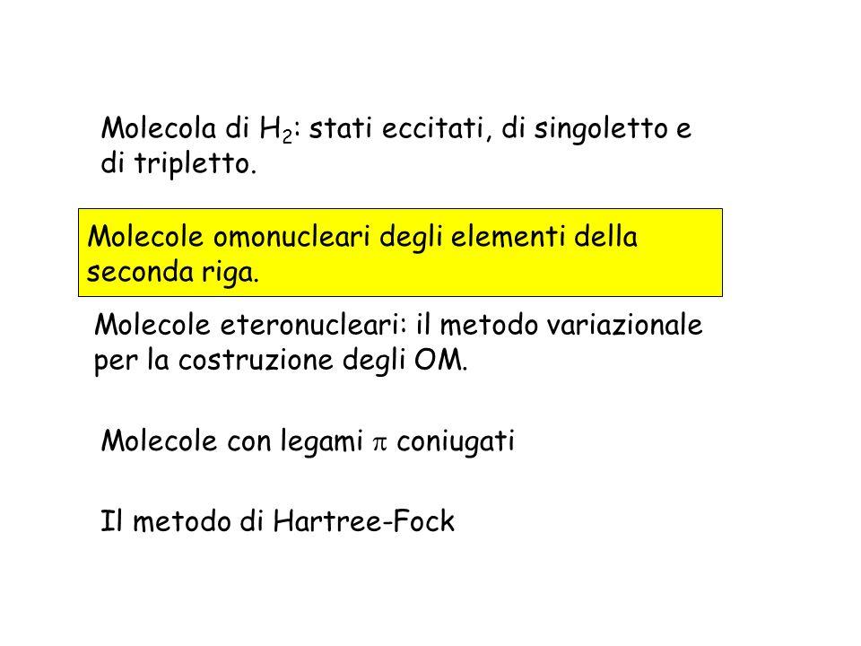 Molecola di H2: stati eccitati, di singoletto e di tripletto.
