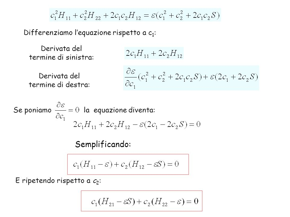 Semplificando: Differenziamo l'equazione rispetto a c1: