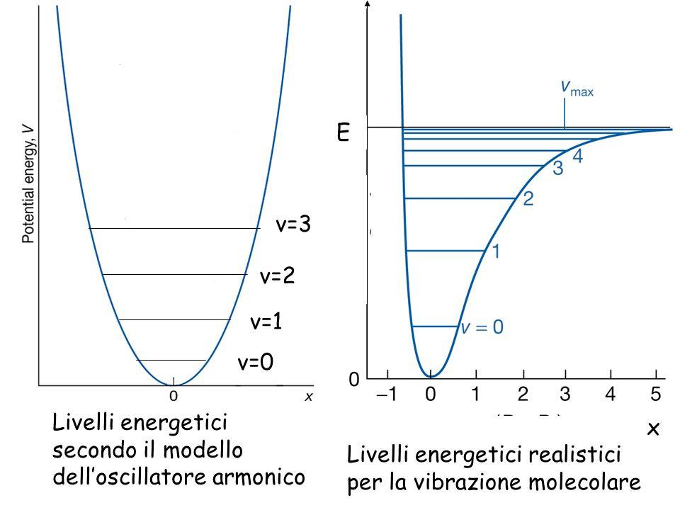 E x. Livelli energetici realistici per la vibrazione molecolare. v=3. v=2. v=1. v=0.
