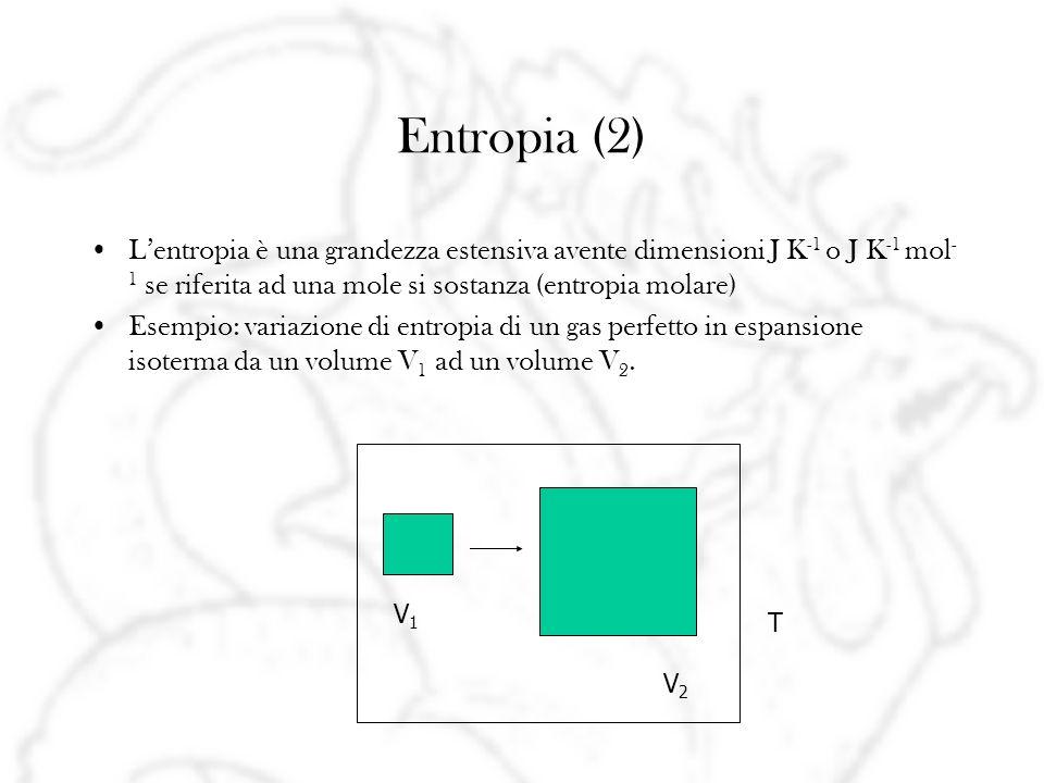 Entropia (2) L'entropia è una grandezza estensiva avente dimensioni J K-1 o J K-1 mol-1 se riferita ad una mole si sostanza (entropia molare)
