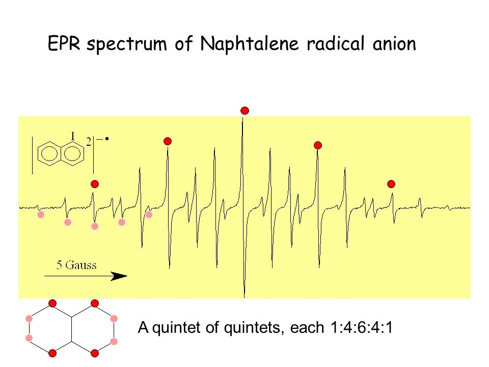 EPR spectrum of Naphtalene radical anion