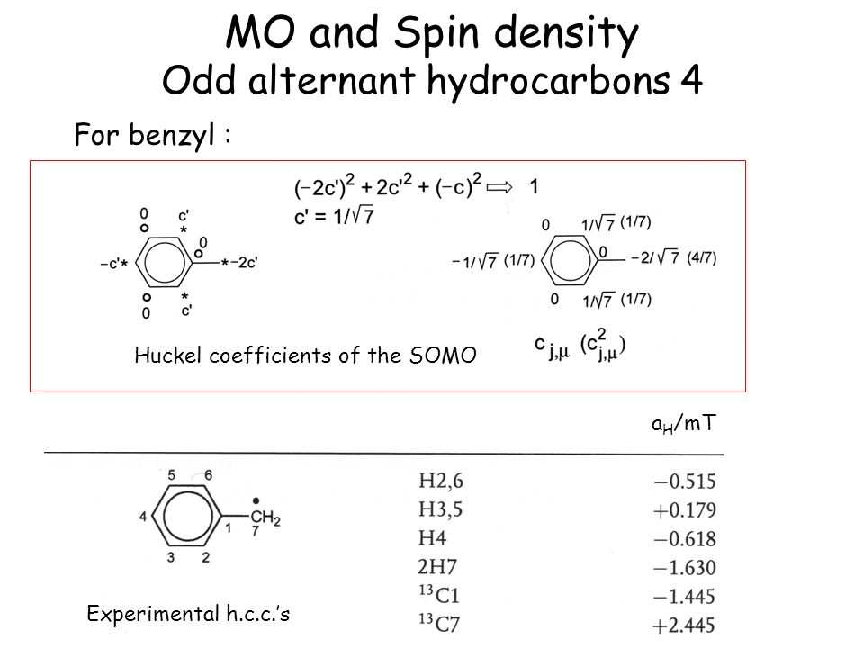 MO and Spin density Odd alternant hydrocarbons 4
