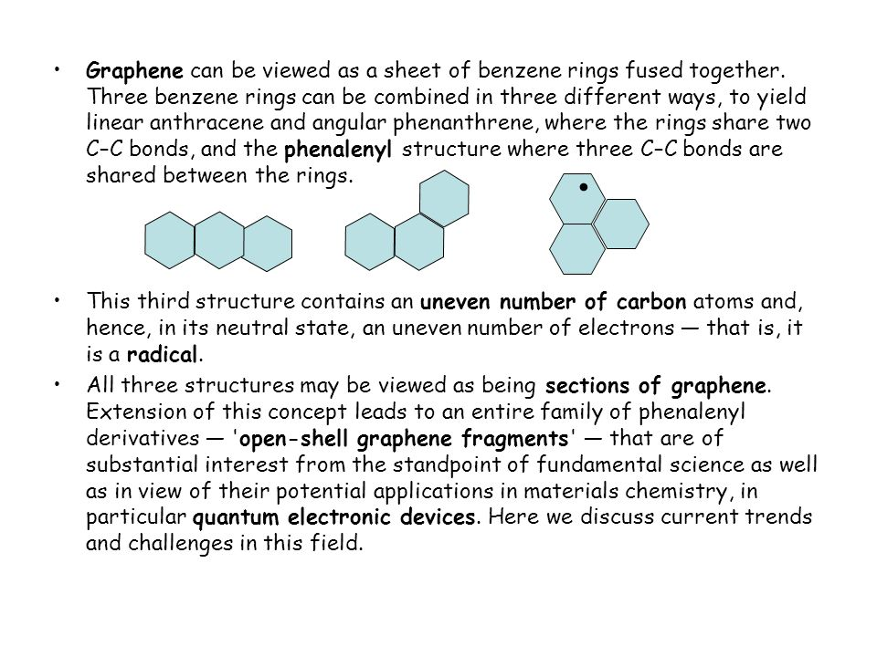Graphene can be viewed as a sheet of benzene rings fused together