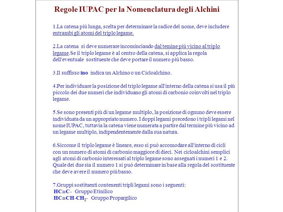 Regole IUPAC per la Nomenclatura degli Alchini