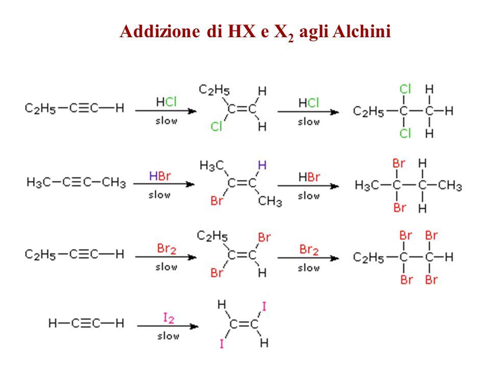 Addizione di HX e X2 agli Alchini