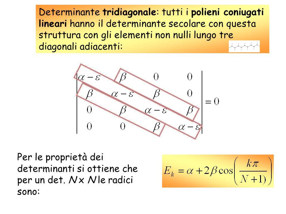 Determinante tridiagonale: tutti i polieni coniugati lineari hanno il determinante secolare con questa struttura con gli elementi non nulli lungo tre diagonali adiacenti: