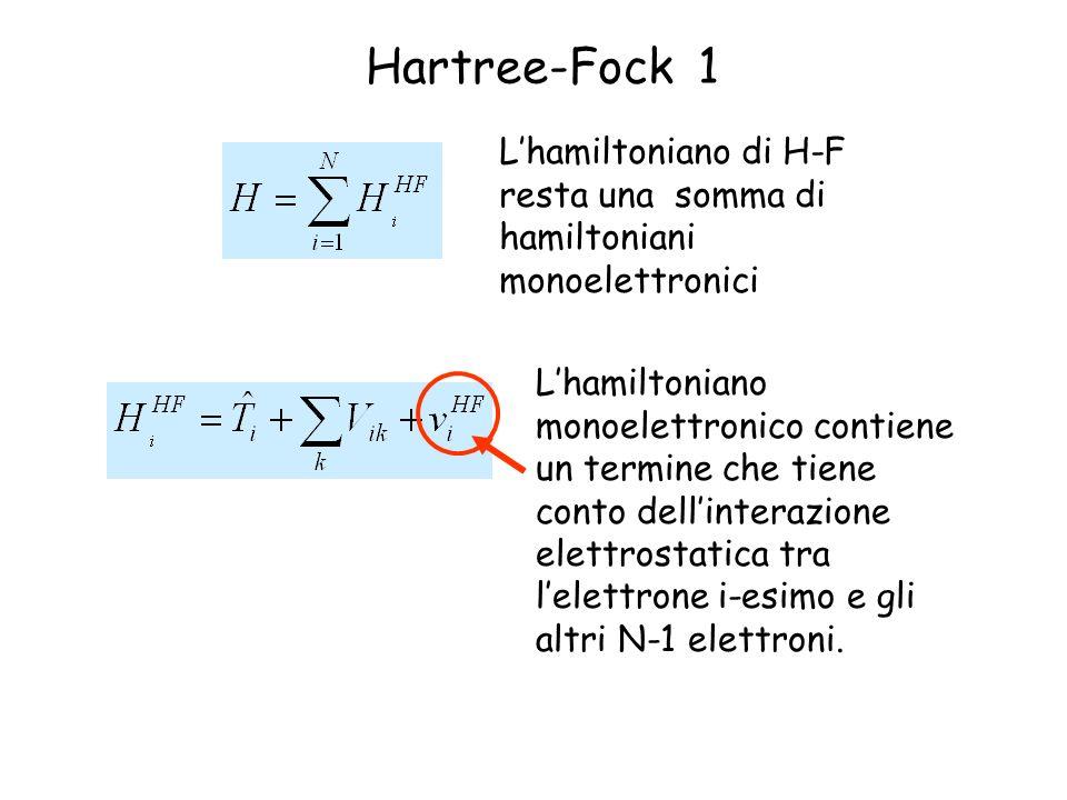 Hartree-Fock 1 L'hamiltoniano di H-F resta una somma di hamiltoniani monoelettronici.