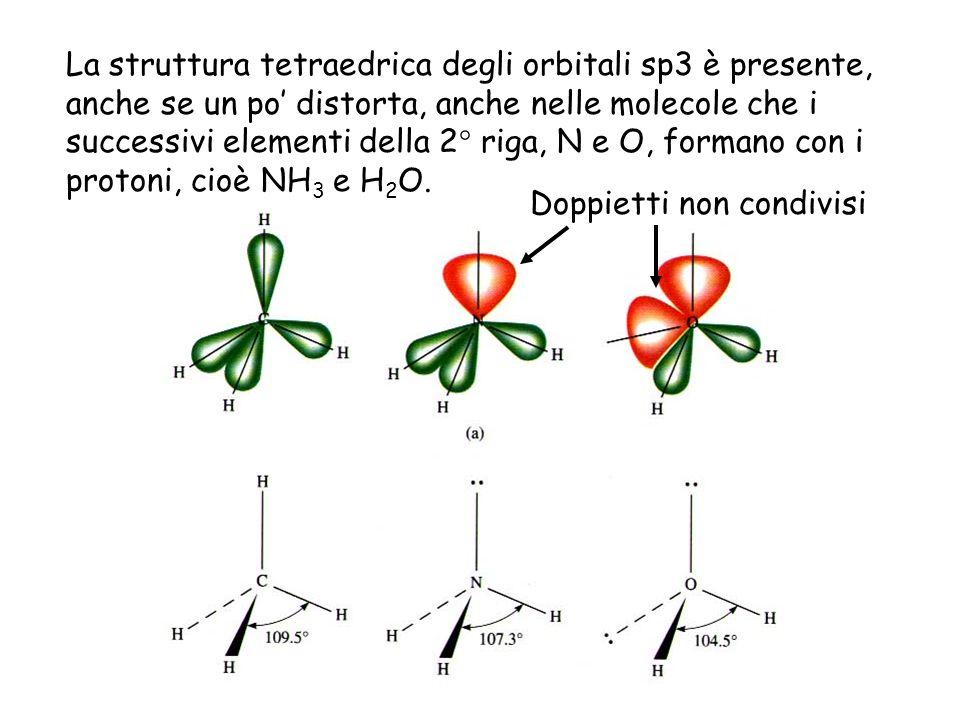 La struttura tetraedrica degli orbitali sp3 è presente, anche se un po' distorta, anche nelle molecole che i successivi elementi della 2° riga, N e O, formano con i protoni, cioè NH3 e H2O.
