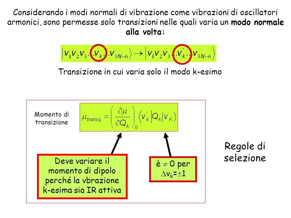 Considerando i modi normali di vibrazione come vibrazioni di oscillatori armonici, sono permesse solo transizioni nelle quali varia un modo normale alla volta:
