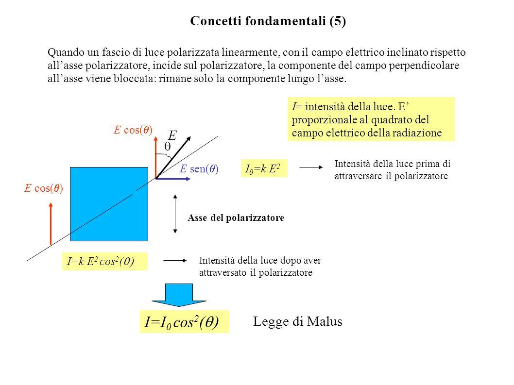 I=I0 cos2(q) Concetti fondamentali (5) E Legge di Malus q