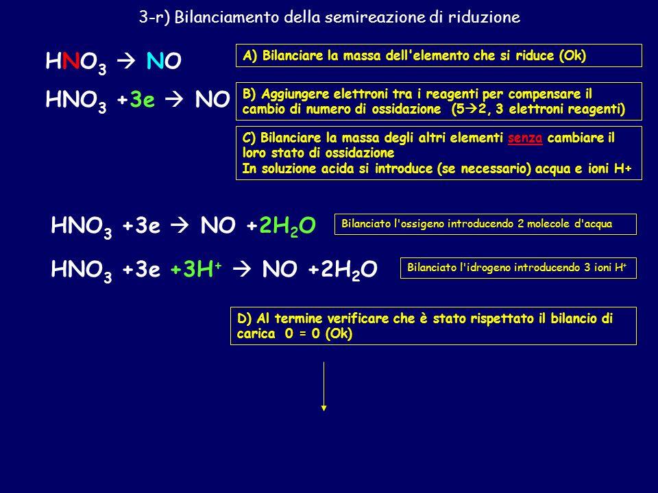 3-r) Bilanciamento della semireazione di riduzione
