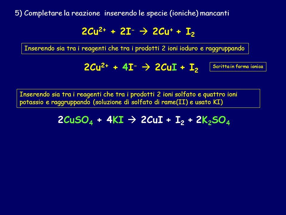 2Cu2+ + 2I-  2Cu+ + I2 2Cu2+ + 4I-  2CuI + I2