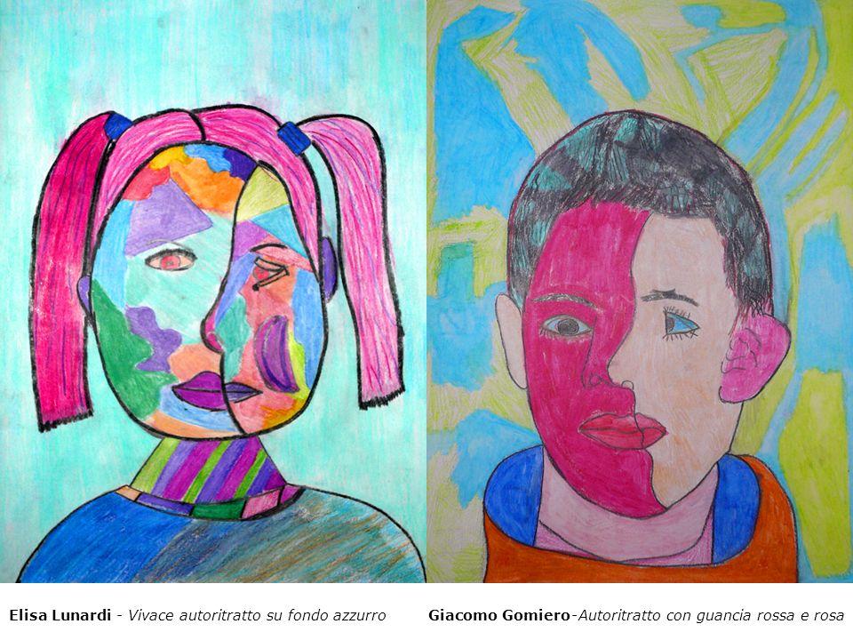 Elisa Lunardi - Vivace autoritratto su fondo azzurro