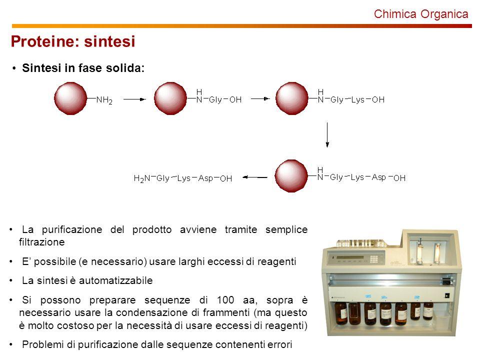Proteine: sintesi Chimica Organica Sintesi in fase solida: