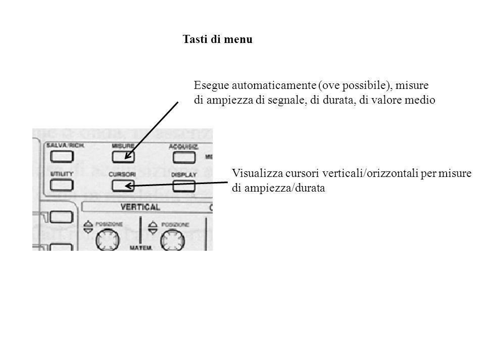 Tasti di menu Esegue automaticamente (ove possibile), misure di ampiezza di segnale, di durata, di valore medio.