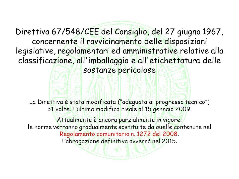 Direttiva 67/548/CEE del Consiglio, del 27 giugno 1967, concernente il ravvicinamento delle disposizioni legislative, regolamentari ed amministrative relative alla classificazione, all imballaggio e all etichettatura delle sostanze pericolose