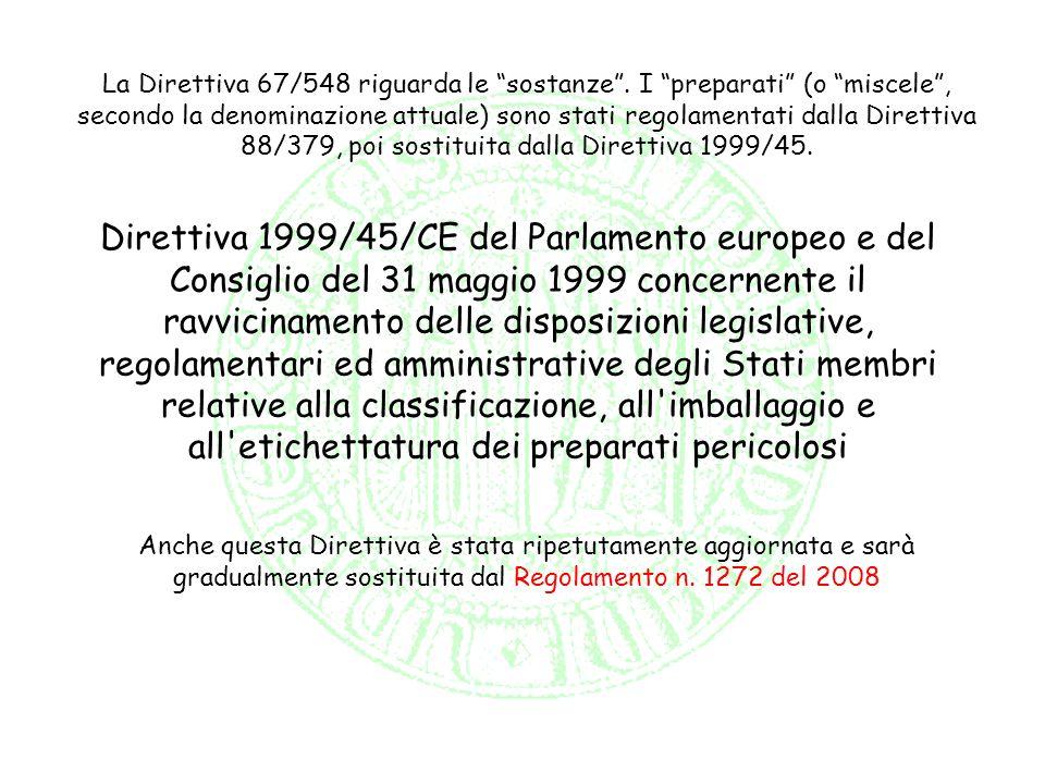 La Direttiva 67/548 riguarda le sostanze