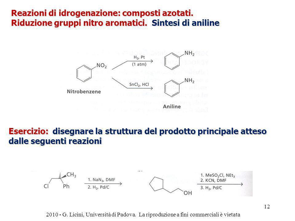 Reazioni di idrogenazione: composti azotati.
