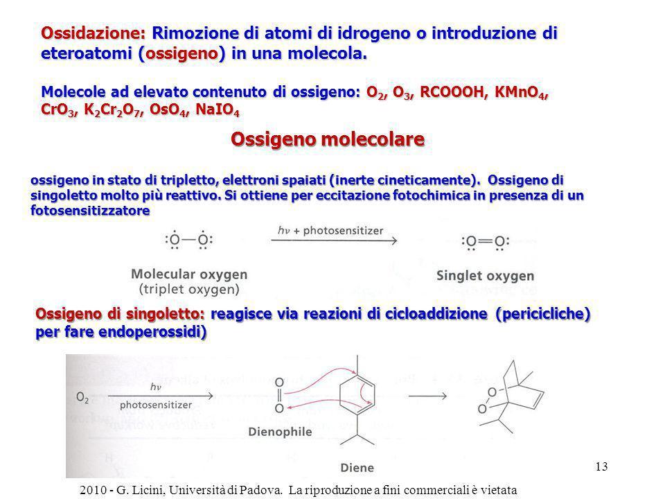 Ossidazione: Rimozione di atomi di idrogeno o introduzione di eteroatomi (ossigeno) in una molecola.