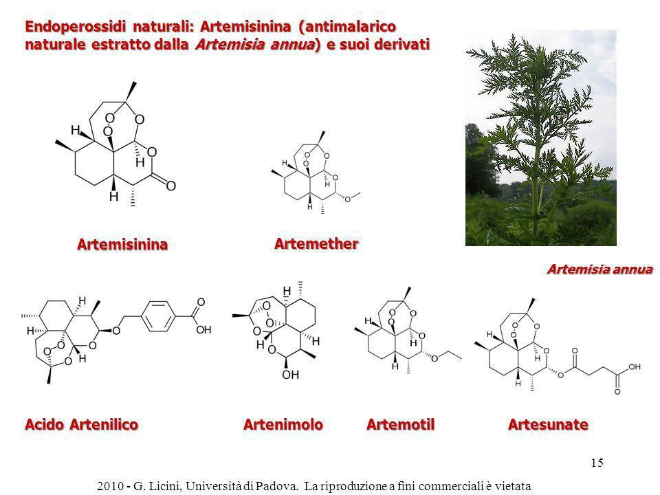Endoperossidi naturali: Artemisinina (antimalarico naturale estratto dalla Artemisia annua) e suoi derivati