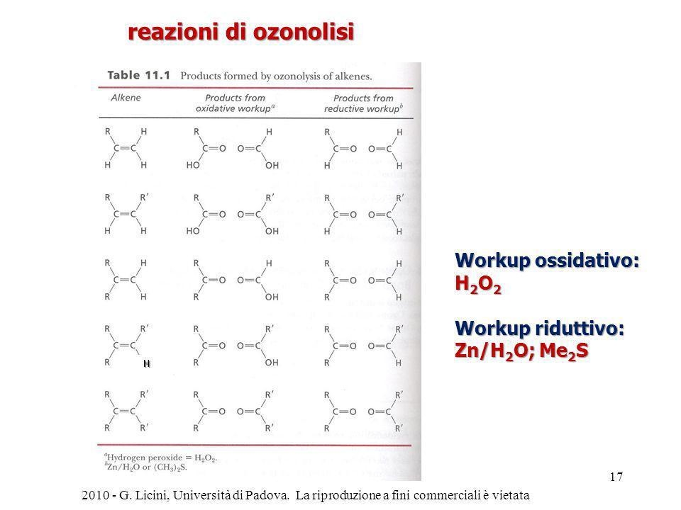 reazioni di ozonolisi Workup ossidativo: H2O2 Workup riduttivo: