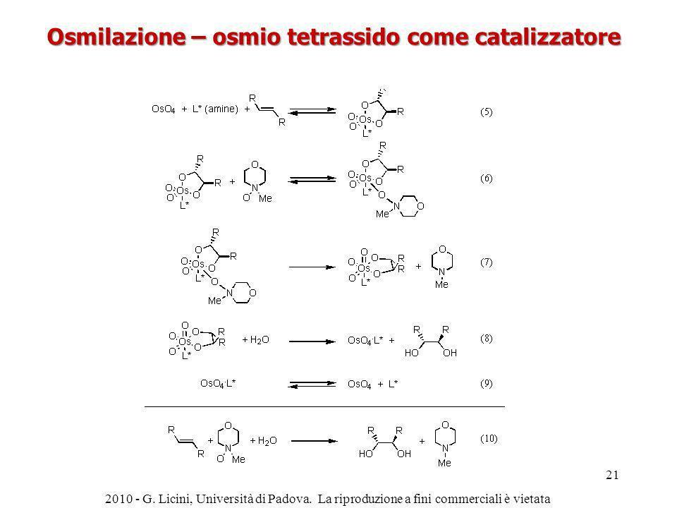 Osmilazione – osmio tetrassido come catalizzatore
